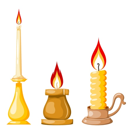 Cartoon of a candle on a white background. Set of yellow candles with flames in Cartoon style. Vector illustration