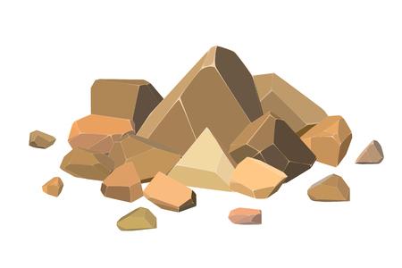 Set of cardboard stones on a white background. Vector illustration