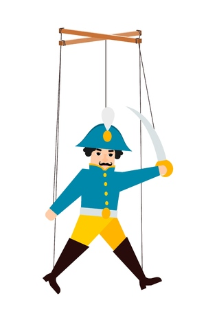 Color image of a puppet doll on a white background. Puppet soldier with ropes. Vector illustration Illustration