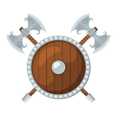 Color image of a round shield and two battle axes on a white background. Viking weaponry in Cartoon style. Vector illustration