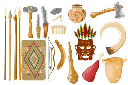 Ancient tools set isolated on white background. Hunting and military weapons of prehistoric man. Primitive culture tools in cartoon style. Vector illustration.