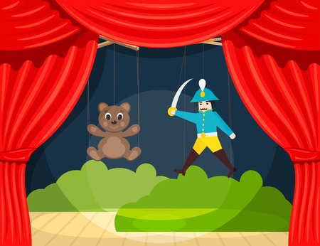Childrens Puppet Theater with puppets puppets bear and soldier. Vector illustration