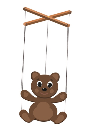 Color image of a puppet doll on a white background. Puppet bearwith ropes. Vector illustration Stock Illustratie