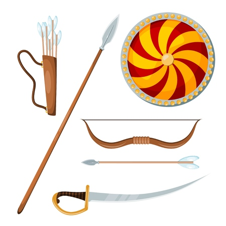 Color image of a Cossack combat items on a white background. Vector illustration