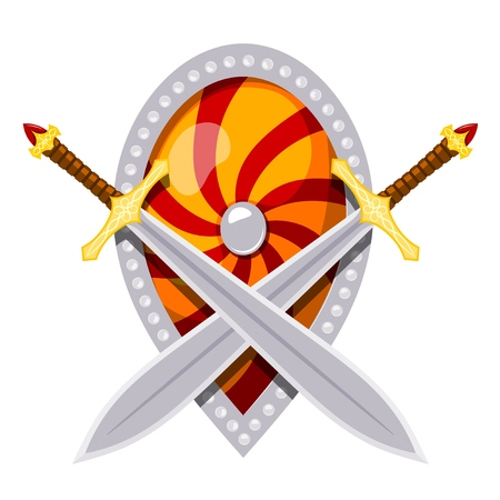 Color image of a shield and swords. Vector illustration of two crossed swords and a shield on a white background in the style of Cartoon