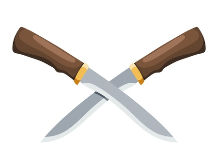 Colorful illustration of a vintage knife on a white background. Vector illustration of dagger style cartoon