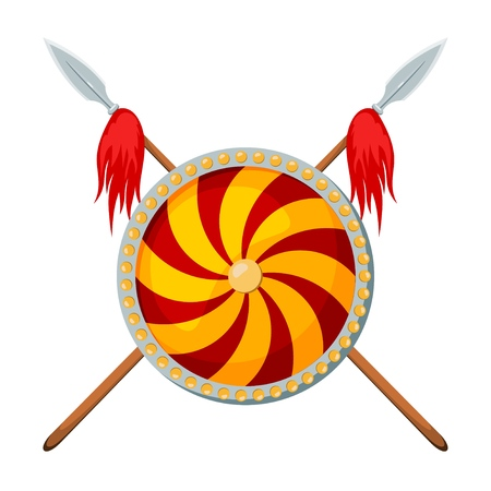 Color image of two crossed spears with a shield on a white background. Vector illustration of a heraldic sign with a weapon