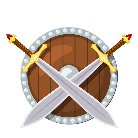 Color image of a round shield and two battle sword on a white background. Viking weaponry in Cartoon style. Vector illustration Illustration