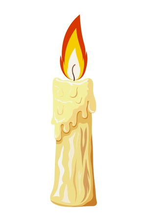 Color image of a wax candle on a white background. Vector illustration of a cardboard style candle with a flame