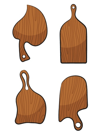 Set Chopping board on a white background. Vector illustration Cartoon style kitchen tool a cook cutting board with style Cartoon