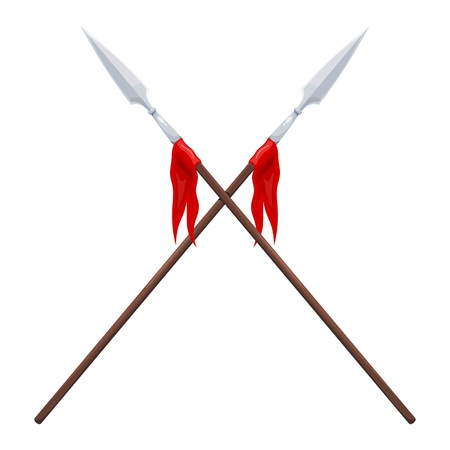 Two spears on a white background. Vector illustration of crossed traditional spears with a red flag Vectores