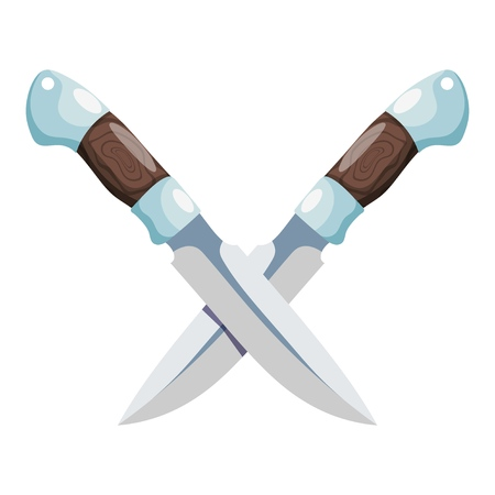 Color image of a combat knife on a white background. Vector illustration of a cutting tool and a blank weapon cartoon style