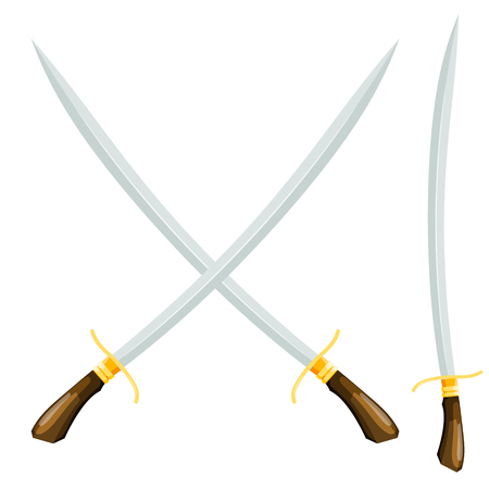 An old weapon on a white background. Crossed swords. Vector illustration of a cartoon style