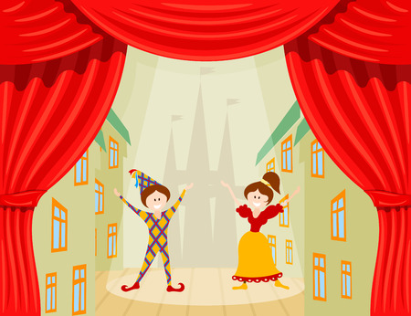 Childrens Theater. A scene with two young actors and red scenes. Vector illustration of a performance with Harlequin and Colombine