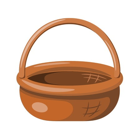Colored illustration of a wicker basket basket on a white background in a cartoon style. Vector illustration