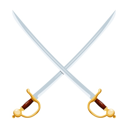 Color image of two crossed vintage sabers on a white background. Vector illustration of retro swords Иллюстрация