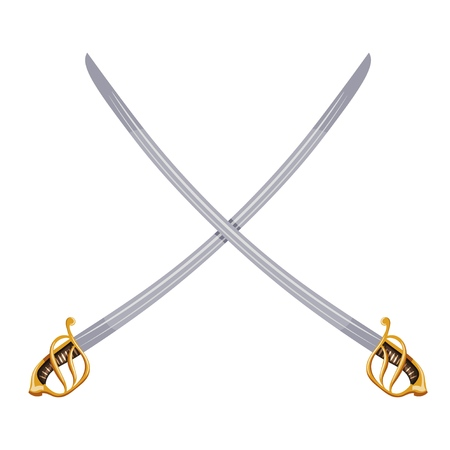 Color image of two crossed vintage sabers on a white background. Vector illustration of retro swords Vettoriali