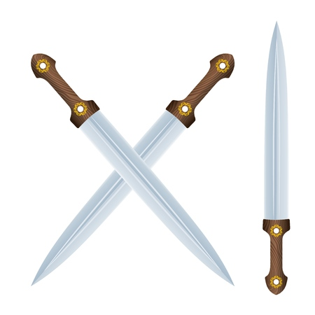 Color image of two crossed Caucasian daggers on a white background. Vector illustration of an antique weapon