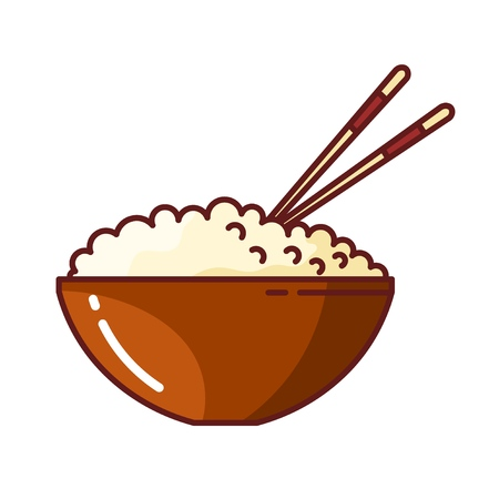 Colored picture of rice in a clay bowl with chopsticks. Vector illustration of Japanese food on white backgroun