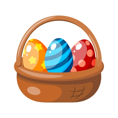 Color image of an Easter basket with colored eggs. Vector illustration of a cartoon style holiday basket Illusztráció