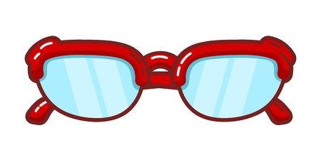 Color image of a vintage sunglasses on a white background. Vector illustration of red sunglasses
