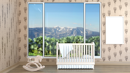 Children's bedroom with baby cot. 3d illustration. Render of a children's room with a bed and a landscape Foto de archivo - 97419680