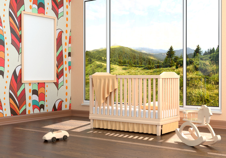 Children's bedroom with baby cot. 3d illustration. Render of a children's room with a bed and a landscape Foto de archivo - 97374045
