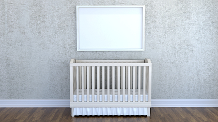 Children's room with a cot. 3D rendering