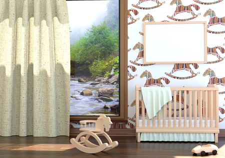 Children's bedroom with baby cot. 3d illustration. Render of a children's room with a bed and a landscape Foto de archivo - 97374049