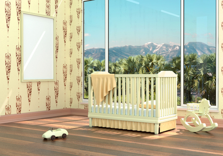 Children's bedroom with baby cot. 3d illustration. Render of a children's room with a bed and a landscape Foto de archivo - 97370680