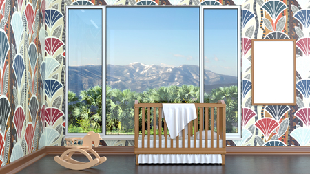 Children's bedroom with baby cot. 3d illustration. Render of a children's room with a bed and a landscape Foto de archivo - 97374050