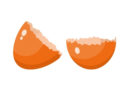 Color image of a broken eggshell on a white background. Isolated object. Element of a chicken egg. Vector illustration