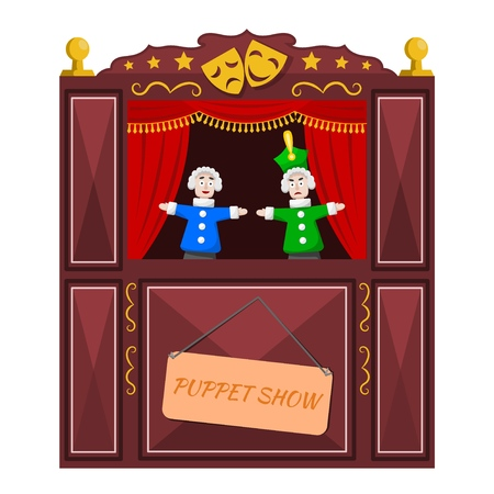 Bright a puppet theater on a white background. Vector illustration of a puppet theater with open scenes and dolls. Cartoon style. Çizim