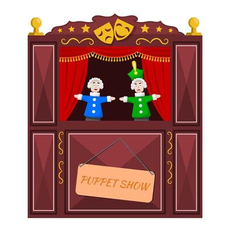 Brillante un teatro de marionetas sobre un fondo blanco. Ilustración de vector de un teatro de marionetas con escenas abiertas y muñecos. Estilo de dibujos animados.