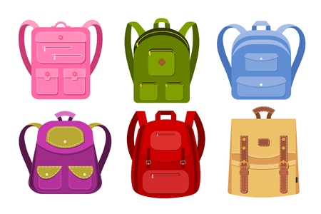 Kolorowy obraz kolekcji plecaków na białym tle. Plecaki szkolne to przedmioty izolowane. Ilustracja wektorowa zestawu toreb dla dzieci.