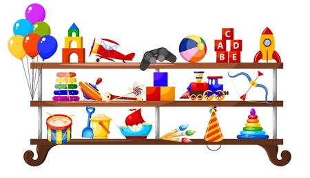 Color image group of icons of children's toys on a wooden shelf. Set of Isolated objects.