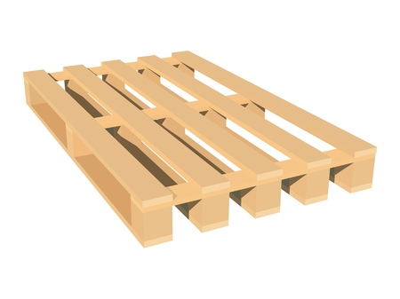 Color image of wooden pallet on white background isolated object of industry vector illustration.