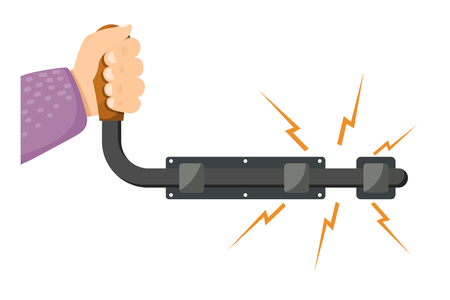 Vector illustration of an open metal latches with hand on a white background.