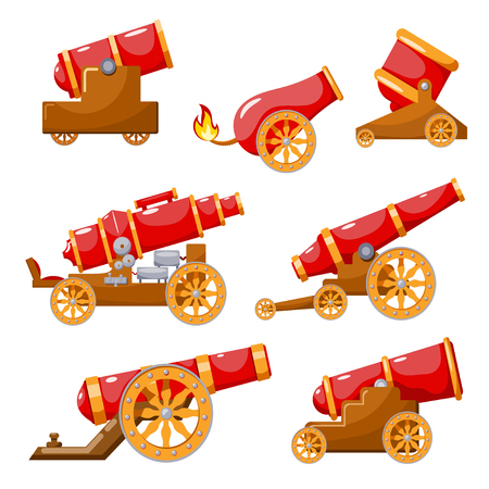 Set Vintage gun. Color image of medieval cannon firing on a white background. Cartoon style. The subject of war and aggression. Stock vector illustration.