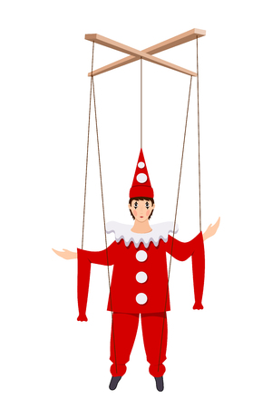 Color image of a doll of Pierrot on a white background. Puppet Piero character of the Italian comedy Delarque with ropes. Ilustracja