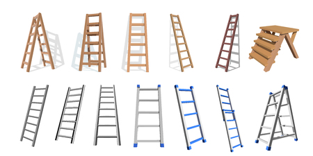 Set of wooden and metal stairs. Wooden, metal staircase on a white background. Vector ladders illustration.