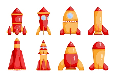 Set of bright red and yellow rockets in a cartoon style on a white background.  Collection of childrens toys. Vector illustration Illustration