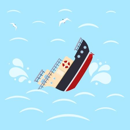 Color image for design ship in sea waves. Shipwreck on a blue background. Sea catastrophe. Vector illustration Stock fotó - 102705373
