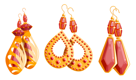 Three beautiful gold set of female earrings with rubies on a white background. Collection of jewelry. Vector illustration