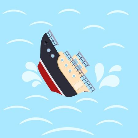 Kleurenafbeelding voor ontwerp schip in golven van de zee. Schipbreuk op een blauwe achtergrond. Zeecatastrofe. Vector illustratie