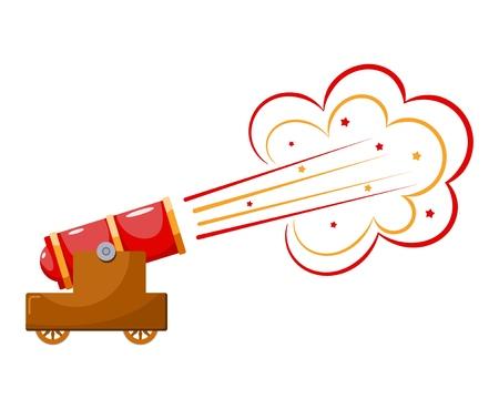Pistola de época. Imagen en color del disparo de cañón medieval sobre un fondo blanco. Estilo de dibujos animados. El tema de la guerra y la agresión. Ilustración de stock