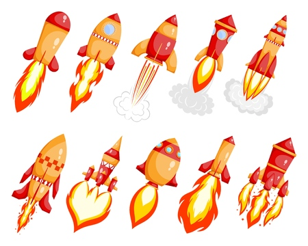 Set Starting rocket on white background. Red Cartoon style Start-up  launcher reactive space rocket with flame. Space transport. Vector illustration