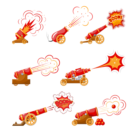 Set Vintage gun. Color image of medieval cannons  firing on a white background. Cartoon style.  Collection subject of war and aggression. Vector  illustration
