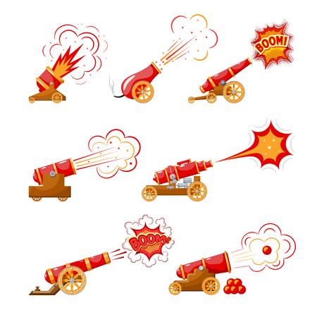Vintage pistool instellen. Kleurenafbeelding van middeleeuwse kanonnen afvuren op een witte achtergrond. Cartoon stijl. Collectie onderwerp van oorlog en agressie. Vector illustratie Vector Illustratie