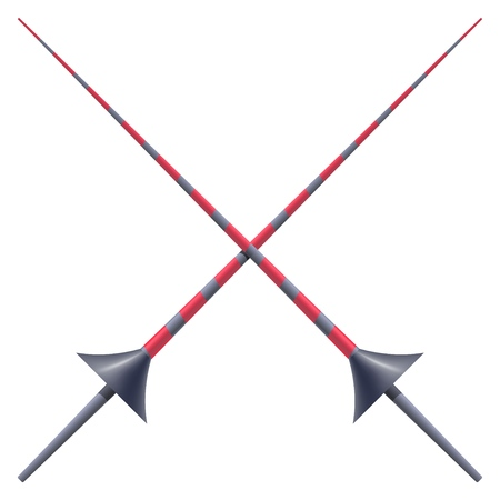Two knightly spears on a white background. Vector illustration of a heraldic sign - crossed spears for a tournament. Cartoon illustration Vectores